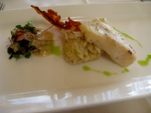 Halibut cheeks and lump crab risotto
